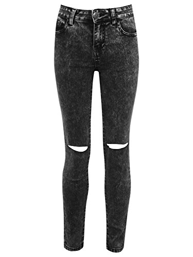 M&Co Teen Girl Cotton Rich Acid Wash Skinny Fit Five Pocket Design Ripped Knee Super Stretch Jeans