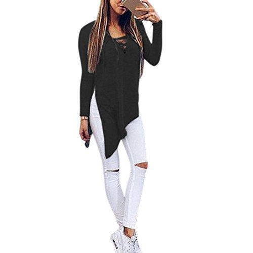 Koly_Donna Inverno manica lunga Jumper Top Lace Up casuali Split camicetta (s, Nero) - Partito Personalizzati Mini
