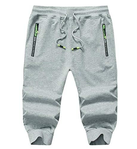 UUGYE Men Jogger Pants Capri Pants Drawstring Casual Cotton Shorts Sweatpants Grey US L -
