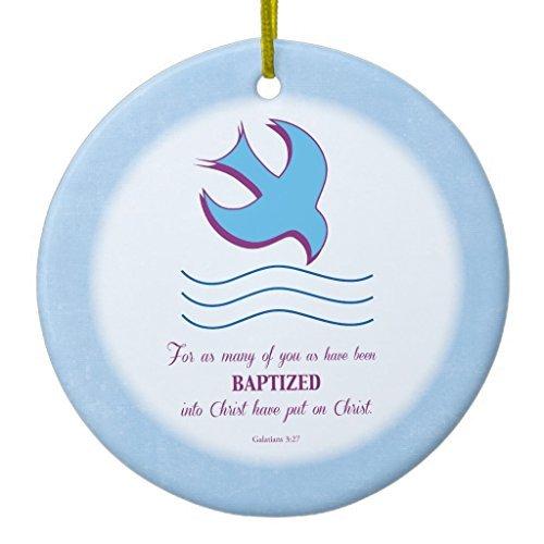 Weihnachtsbaum Dekorationen Erwachsene Taufe Taube auf Blau Keramik Ornament Kreis rund Weihnachten Ornament Handwerk XMAS Geschenk
