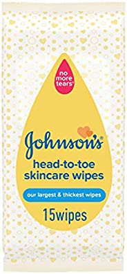 JOHNSON'S Baby Wipes, Head-to-Toe Skincare, Pack of 15 wipes