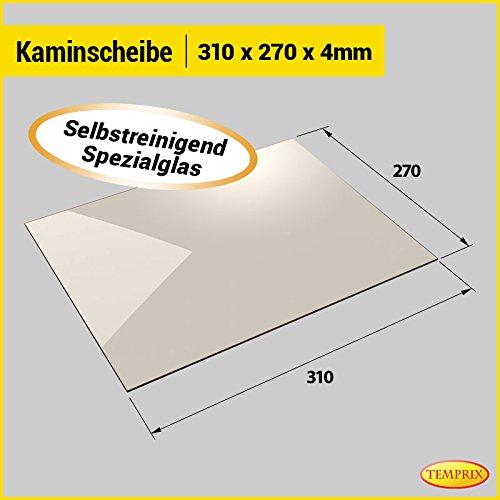 Kaminglas und Ofenglas 310 x 270 x 4 mm   Temperaturbeständig bis 800° C   » Selbstreinigend «   Markenqualität in Erstausrüsterqualität
