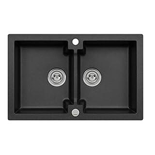Einbau Spüle Mojito 160 Axigranit für 80er Doppelbecken Küchenspüle 79 x 50 cm (Axis Schwarz)
