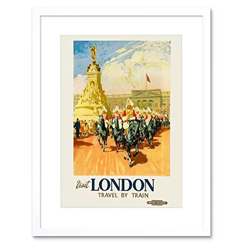 Buckingham Palace Statue (TRAVEL LONDON ENGLAND UK BUCKINGHAM PALACE STATUE GUARD HORSE ART PRINT B12X7965)