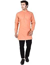 Veera Paridhaan Men's Solid Peach Cotton Kurta
