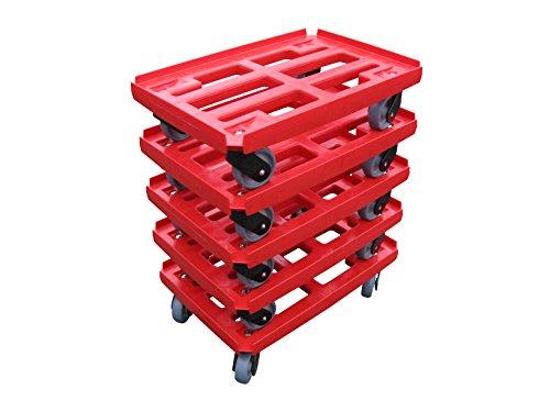Transportroller 5er Pack für Boxen 600x400mm, roter PP Gitter Rahmen mit 4x Kunststoff-Lenkrolle, graue TPE Gummirad ø 100mm (Gitter Rollwagen)