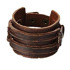 Idea Regalo - Mulba Uomo d'epoca in pelle marrone braccialetto del polsino, cuoio fascia di polso del Wristband gioielli artigianali Sl2256