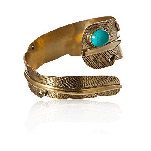 81stgeneration Bracciale Ottone Color Oro Design Piuma Pietra Turchese