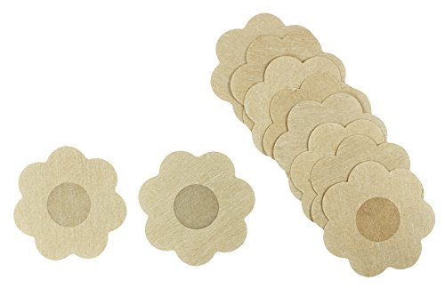 COM-FOUR® 10x Brustwarzenabdeckung 79mm Blume in Hautfarben Set (10 Stück - Blume)