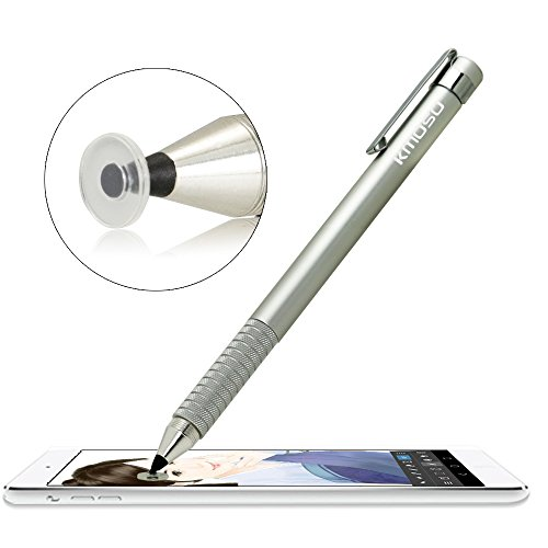 Kmoso® exakte Fine Point Stylus Pen extrem feinstem Spitzen mit Klar Disc Stylus kapazitiver Stylus-Eingabestift für Touchscreen Geräte (mit 3 gratis Ersatz Scheiben) (1, silver) (3 Mini Ipad Stylus Tip Fine)