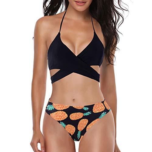 Asalinao Push Up Bandeau Bikini Set Damen Push Up Badeanzug Größen erhältlich - White Print Kaftan