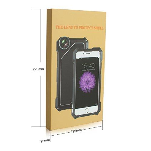 IP54antipolvere antiurto in alluminio, per iPhone 7, Obiettivo Fisheye + Grandangolo + Macro per fotocamera con obiettivo kit (3in 1) Silver