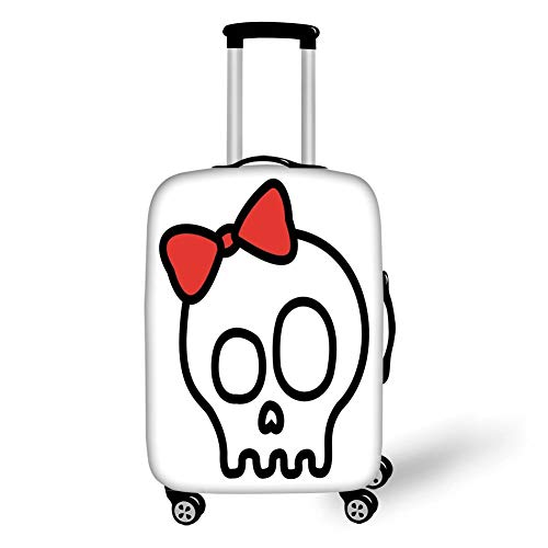 Travel Luggage Cover Suitcase Protector,Skull,Illustration of Baby Skull Girl with Lace and Halloween Dead Head Teen Emo Art,Red White Black,for Travel,S