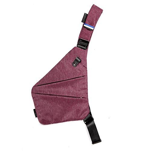 NIID-FINO Sling Schulter Crossbody Brust Tasche Slim Rucksack Multipurpose Daypack für College Herren Frauen Radfahren Walking Wandern Trip Passt bis zu 7,9 Zoll iPad Mini (RECHTS, Grau) Rot