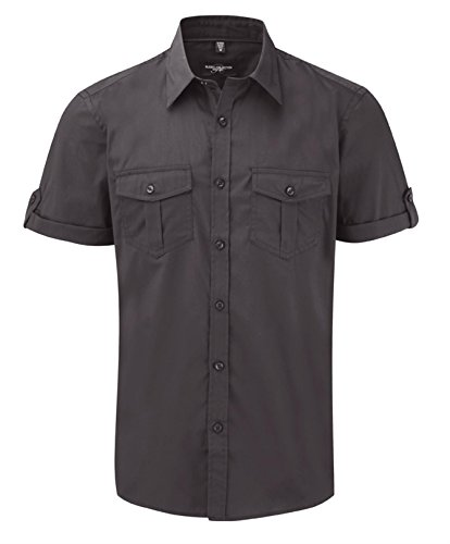 Russell Collection Men's Twill Short Roll Sleeve Shirt Zinc