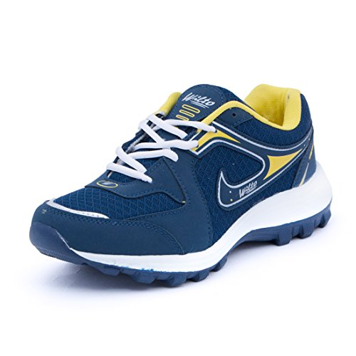 Asian Men's Navy Blue & Yellow Mesh Bullet Range Running Shoes -8 UK