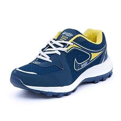Asian Men's Navy Blue & Yellow Mesh Bullet Range Running Shoes -10 UK