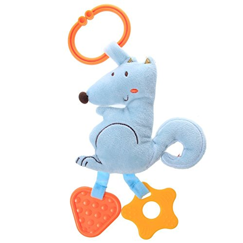 Labebe Infant Baby/Newborn Teether, BPA Free Silicon Teething Toys/ Gum Massagers with Stuffed Animal, Crib Hanging Toys for 3-6 months, Showering Gift - Blue Squirrel