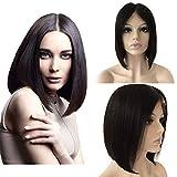 Perruque Femme Bob Court Lace Front 8'/20cm [12'*3' Swisse Lace Front Scalp] Cheveux Lisse Noir Naturel Cheveux Tombent/S'emmêlent Pas Densité: 130% [Raie au Milieu]