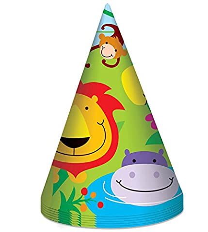 Jungle Theme 8 Party Hats Girls Kids Childrens Birthday Zoo