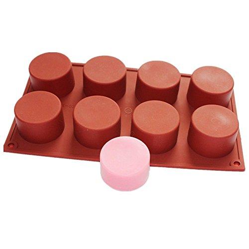 Allforhome 8 Cavity Rund Zylinder Seifenform, Seife DIY Mold, Cup-Kuchenform, handgemachte Silikonseifenform, handgemachtes Tools (Runde Seifenform)