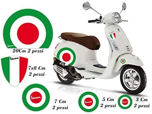 GamesMonkey Adesivi Stickers VESPA kit PIAGGIO VESPA BANDIERE ITALIA CERCHIO