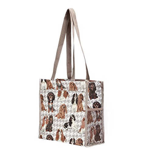 Borsa donna Signare in tessuto stile arazzo Shopping alla moda animale Cavalier King Charles Spaniel