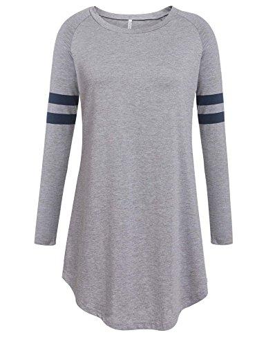 Keland Damen Beiläufige Baseball T-Shirt Pullover Sportlich Langarm Rundhals Sweatshirt Loses (T-shirt Fa S/s)