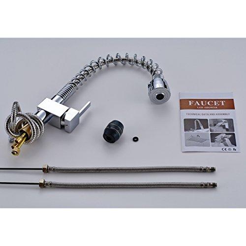 Auralum – Küchenarmatur mit herausziehbarer flexibler Spiralbrause, Chrom - 7