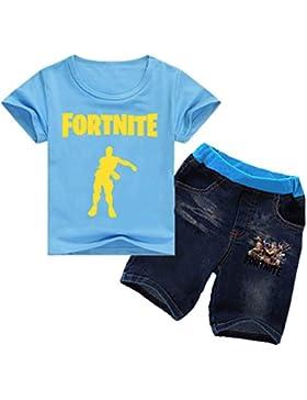 CTOOO Verano Fortnite Impresión Niño Camiseta Manga Corta + Pantalones Cortos De Mezclilla Set