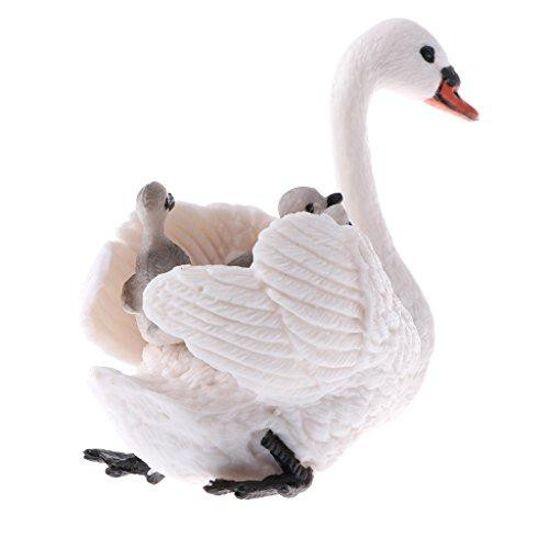 Homyl Juguete Realista del Animal Salvaje de Plástico Figura de Naturaleza Colecciones Decoración Casera Regalo de Fiesta Cumpleaños para Niños - madre e hijo cisne