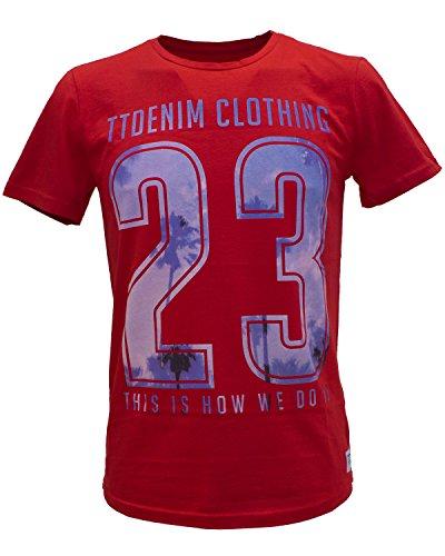 TOM TAILOR Denim T-Shirt mit Summer-Print - 4 Farben rot (clean red 4535)