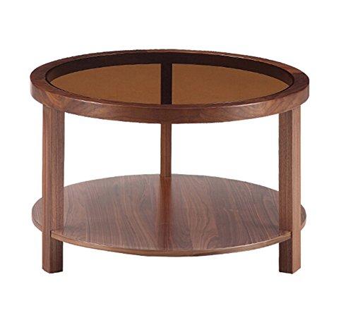 Full Love House Table d'appoint, Table basse Table d'angle Noyer + verre trempé Simple Nordique Rond Double couche Translucide Salon Couleur noyer noir Diamètre: 60cm