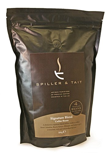 Spiller & Tait Signature Blend – Coffee Beans 500g Bag – Award Winning – Roasted in Small Batches in the UK – Espresso Blend Suitable for All Coffee Machines