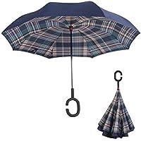 Travel Rain Sun Umbrella Paraguas a Prueba de Viento con Mango en Forma de C Protección
