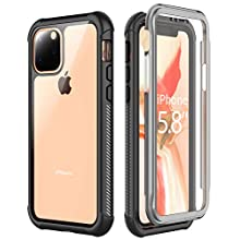 iPhone 11 Pro Case, Full Body Heavy Duty Protection Shockproof Case Built-in Screen Protector for iPhone 11 Pro (2019) Black/Clear