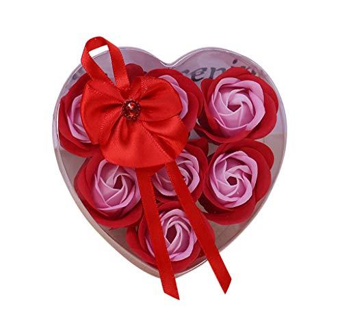 Bonbons, Bad Seife (TianranRT 7 Stück duftend Rose Blume Blumenblatt Bad Körper Seife Hochzeit Partei Geschenk (Rot))