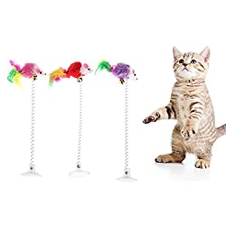Dairyshop 3Pcs Funny Pet Cat Kitten Playing Toys,Cat Elastic Feather False Mouse with Bottom Sucker Toys