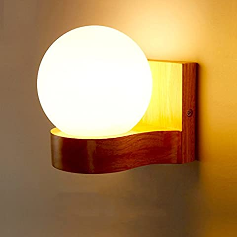 Creative Solid Wood LED Wall Lamp Single Head Round Bedside