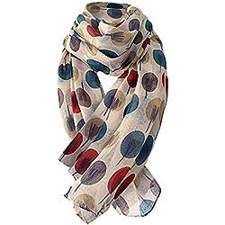 Lenfesh Moda Mujer Bufandas Largo Suave Abrigo Bufanda mantón Bufandas Estampado de Lunares Fular Fulares para Mujer