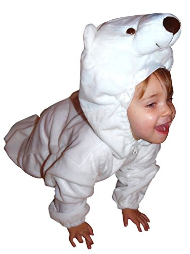 Eisbären-Kostüm, F24/00 Gr. 98-104, für Klein-Kinder, Babies, Eis-Bären Kostüme Fasching Karneval, Kleinkinder-Karnevalskostüme, Kinder-Faschingskostüme,Geburtstags-Geschenk - Polar Bär Baby Kostüm