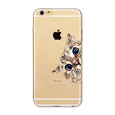 MUTOUREN HIGH QUALITY phone case for Apple iPhone 7 Plus Protective Bumper Case Ultra Thin Clear cute cartoon cat Art Pattern Crystal Rubber Flexible Slim Skin Case for iPhone 7 Plus Cute Design Case Back Cover Phone Resistance Drop Shape Fashion Ultra Thin Pattern