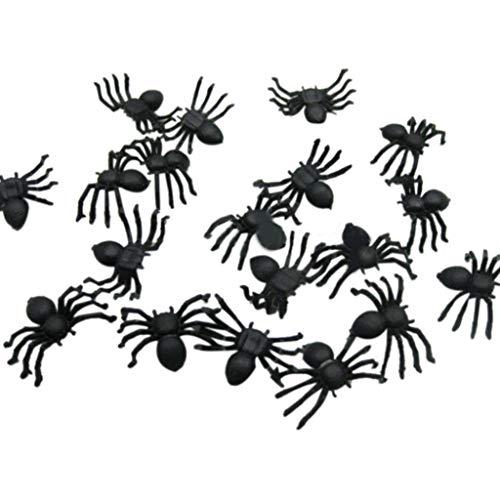 Vovotrade Halloween Deko Spinnen 20 Kunststoff Schwarz Realistische Spider Halloween Party Dekoration Prop Scherz Spielzeug (Schwarz)