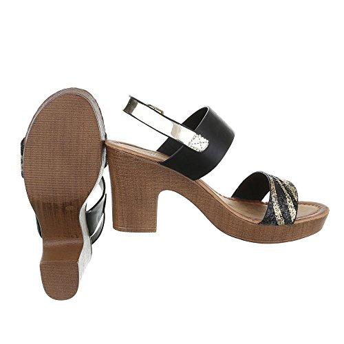 Ital-Design - Scarpe con plateau Donna oro nero