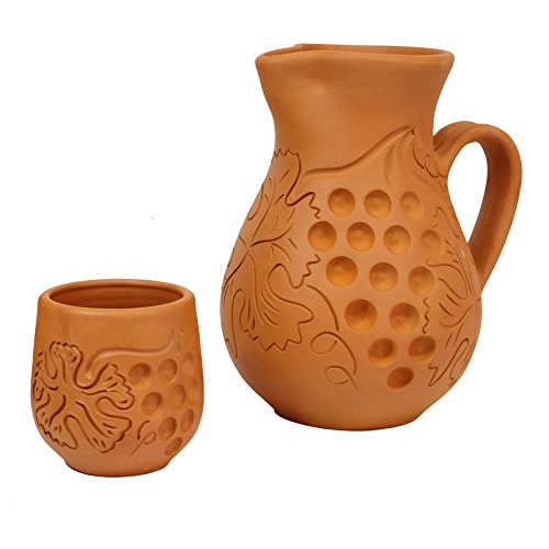 Obique Country Kitchen Collection Set of Two, One Large Pottery Clay Wine Jug or Vase 1.5 Ltr With Grapes Design and One Wine Glass 250 ml With Grapes Design