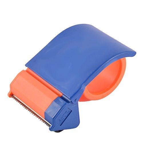 DealMux escuela de la oficina de plástico sellado de embalaje Dispensador de cinta Azul Naranja 7cm ancho