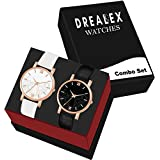 Drealex Analogue Girls & Women's Watch (Black & White Dial Black & White Colored Strap) (Pack of 2)