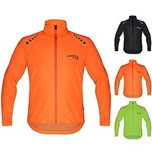 Brisk Bike - Chaqueta Impermeable con función de Cortavientos, Ligera, para Ciclismo, navegación, Surf, Remo, (Color Naranja, tamaño Mediano)