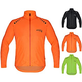 Brisk Bike Ultra-light all weather waterproof sports rain jacket for cycling, training rain wear bicycling sailing , boating surfing parasailing, rowing, jacket beach running jacket wind stopper. (Orange, Small)