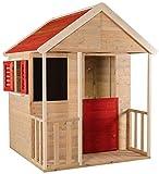Wendi Toys Kinder Sommerhaus aus Holz | Garten Spielhaus öffnen mit Balkon, Spielzeug Regal, Fensterläden, Tafel